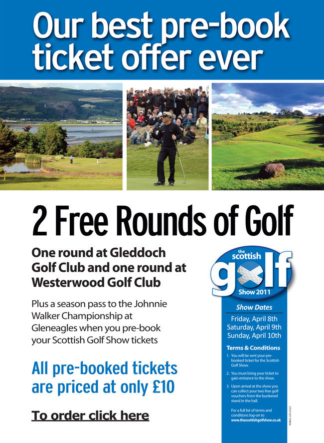 Pre-book Ticket Offer - 2 Free Rounds of Golf
